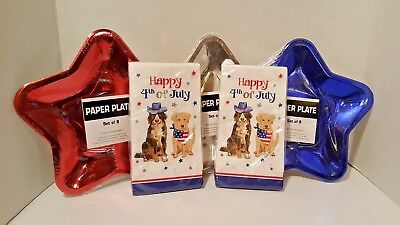 Patriotic Fourth of July Paper Star Serving Plates & 4th of July Dog Napkins New - Fourth Of July Plates