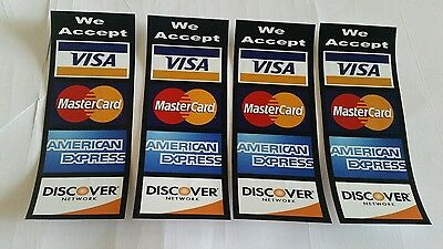 Credit Card Logo Decal Sticker 4 Pcs Set Visa Mascard Discover .american E..