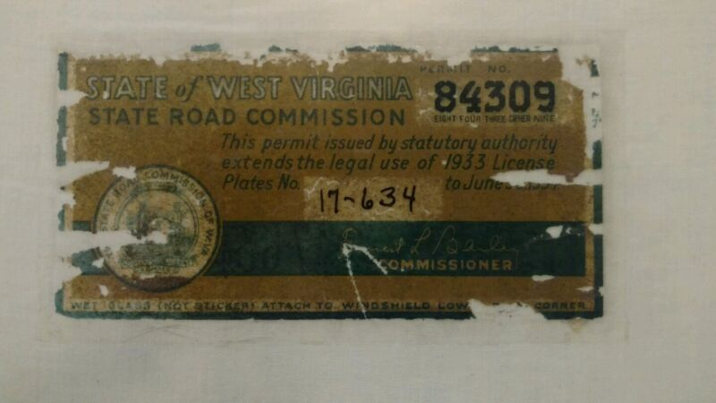 1933-1934 West Virginia Windshield Sticker used with 1933 WV License Plates Rare