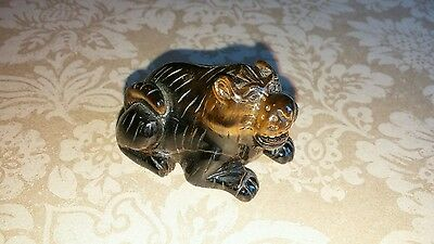 Collectible Carved Tigers Eye Stone Tiger Figure Effigy