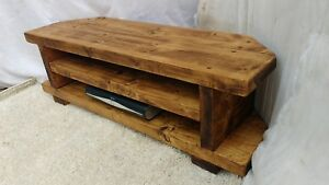 Corner Rustic Pine TV Unit solid wood stand/cabinet -rustic pine wax finish