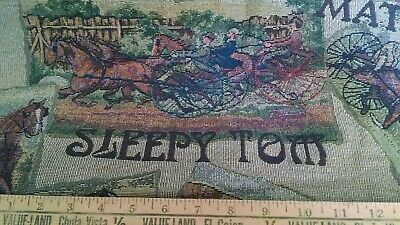 Courier & Ives Horse Tapestry Upholstery Quality Italian Decor Fabric 1 Yrd NEW
