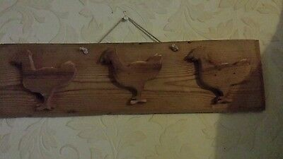 Antique reclaimed pine  plaque over 100 years old -- chickens - chic