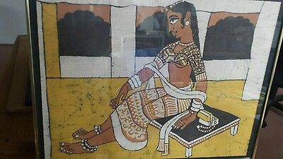 OLD VINTAGE Sharda HANDMADE PAINTING ON CLOTH INDIA framed