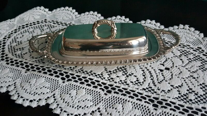 English Silver Mfg. Covered Butter Dish with Glass Insert