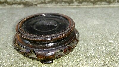 VINTAGE SMALL ORIENTAL STAINED CARVED WOOD VASE TROPHY BOWL FIGURE STAND (H)