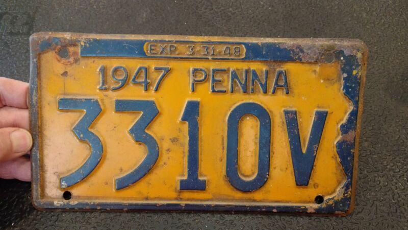Single 1947 Pennsylvania Penna License Plate #3310V EXP- 3/31/48 - ms