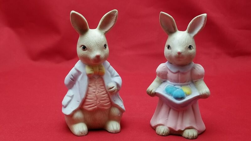 """2  Bisque Ceramic Easter Bunnies Boy and Girl 4.5"""" Tall"""