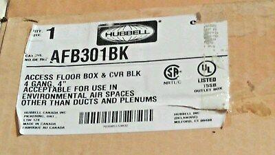 Hubbell Afb301bk Box Raised Floor 4 Gang Deep Black Lid