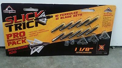 "New 2015 Slick Trick 100 Grain 1 1/8"" Magnum Broadheads - Pro Pack 10"