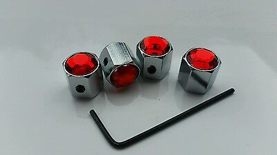 Anti Theft Alloy Car Wheel Tyre Valve Dust Caps Covers Tire Set of 4 Red A