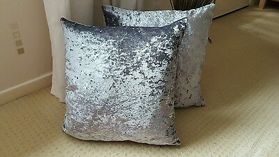 SET OF 4 SALE £20  Metallic marble SILVER   Crushed Velvet 18in Cushion Covers ()