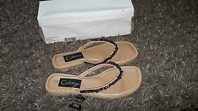 Calzino LEATHER Ladies Jocelyn Stone Toepost Sandals Uk Size 5 NEW BOXED