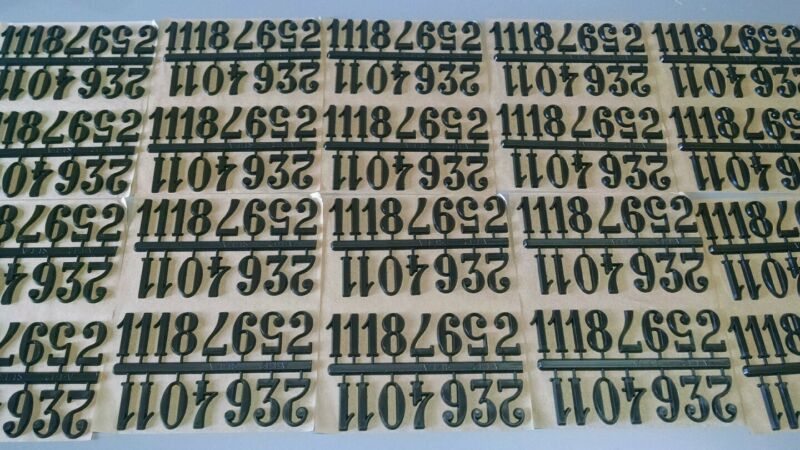 """1"""" Self-Stick Black Arabic Clock Numbers. 20 sets Hot Stamped NEW USA made"""