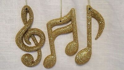 3 PC GOLD GLITTER MUSIC NOTE (Glitter Music Note)