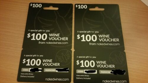 Lot Of 2 NakedWines.com 100 Voucher - $9.99