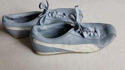 Damen Puma Freizeit Sport Schuhe Sneaker hell blau Vintage Retro Mode Größe 38 for sale  Shipping to Nigeria