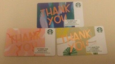 3 NEW STARBUCKS SUMMER 2018 THANK YOU GIFT CARDS RECYCLED PAPER US