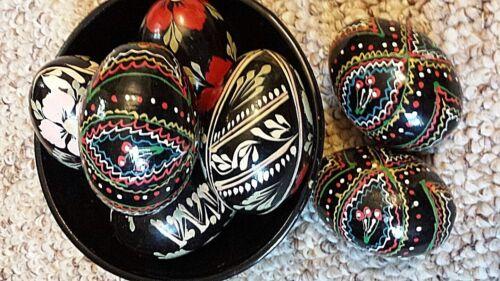EASTER EGGS Set of 12 UKRAINIAN WOOD HAND PAINTED PYSANKA AND BOWL DECOR HOLIDAY