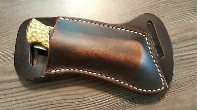 Cross Draw Buffalo leather knife sheath Dark oil rustic. fits a Buck 110 or sim