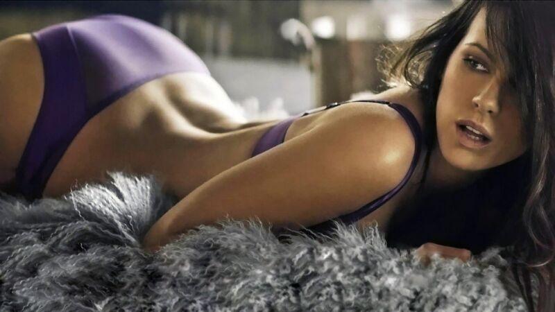 Kate Beckinsale Posing Purple Lingerie 8x10 Photo Print