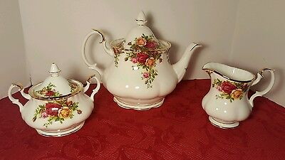 Royal Albert Old Country Roses 6 Cup Teapot, Sugar & Creamer ~   Exc. Condition