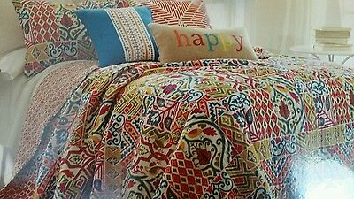 ARIANNA 3PC F QUEEN QUILT SET EXOTIC BOLD PATCHWORK PRINT BIRD  TEAL ORANGE