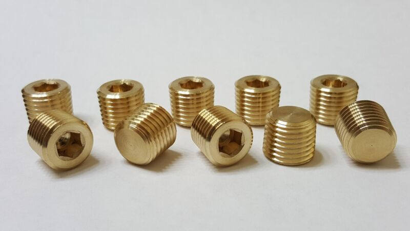 Lot of 10 pcs. 1/4 MIP (Male NPT) Brass Plug Countersunk Hex Made in USA