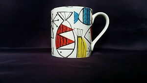 Bone China Mug Retro Fish Pattern Hand Decorated Wales Gift