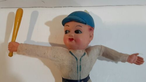 Base Ball Player Doll Celluloid Head Straw Body Made Japan 11.5 1930-40s - $7.09