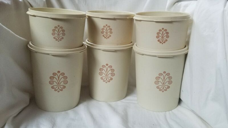 6 Vintage Plastic Tupperware Tan Kitchen Scroll Canister 809-6 1298-10 810-19