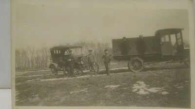 Vintage Car Photo Postcard brass 1910s Model T Ford Automobile truck people bw