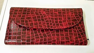 Red Faux Croc MAKEUP TRAVEL CASE COSMETIC TOILETRY BAG