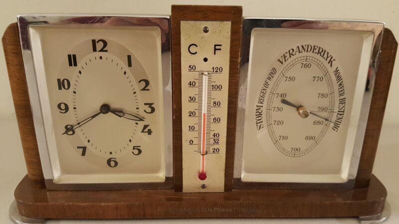 Vintage Working Dutch Mid Century Art Deco Clock Barometer Thermometer Desk Set