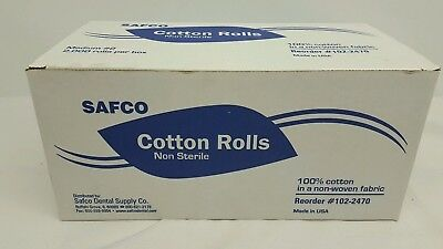Safco Dental Disposable Cotton Rolls Non-sterile Medium 2---2000 Rolls