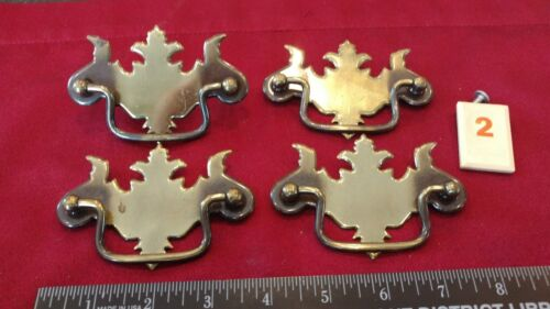 Set Of 4 Metal Chippendale Style Drawer Pulls Handles - O2 - Lw - $12.50