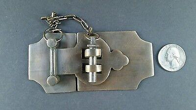 "Unique Vintage Cabin Cabinet Door Latch Hook Solid Brass Hasp Lock Gate 4"" #X2"