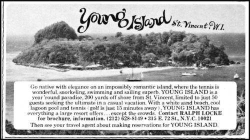 1977 Young Island St Vincent resort Caribbean vintage photo Print Ad ads16