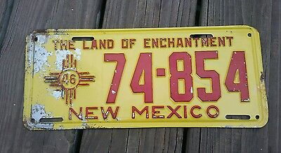 VINTAGE 1946  NEW MEXICO  LAND OF ENCHANTMENT  - LICENSE PLATE # 74 * 854