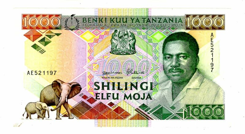Tanzania ... P-22 ... 1000 Shilingi ... ND(1990) ...  *UNC*