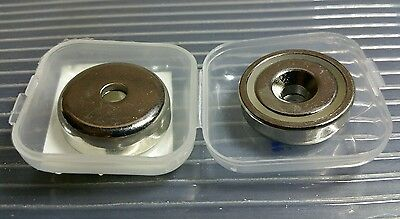 2 Neodymium 1 Cup Magnets. Super Strong Rare Earth Countersunk Pull Force 37lb