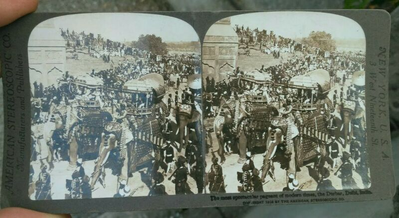 1903 Photo Stereoscopic Pageant Of People With Elephants A New Delhi India