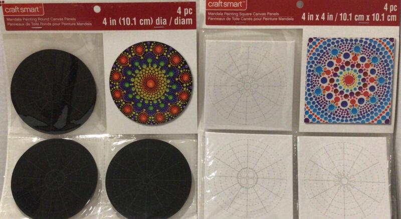"Lot Of 2- Craft Smart Mandala Painting Round Canvas Panels 4"""
