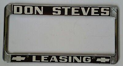 Vtg Pair 2 La Habra California Don Steves Chevrolet Leasing License Plate Frames