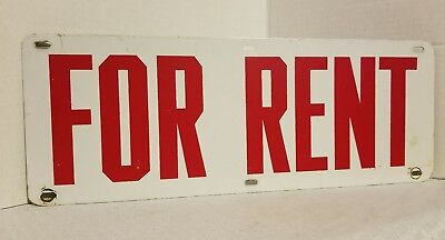"""VINTAGE FOR RENT SIGN ALL METAL RED WHITE DOUBLE SIDED 15.5""""X6"""""""