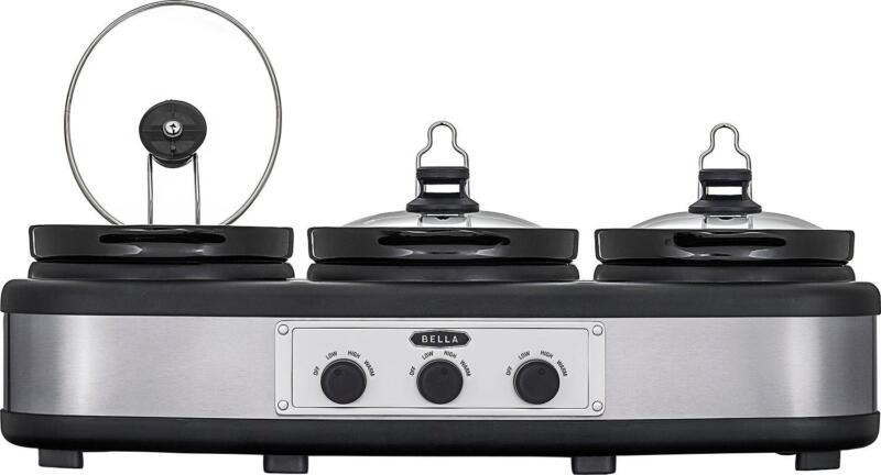 Bella - 3 x 2.5-Quart Triple Slow Cooker - Stainless Steel/Black