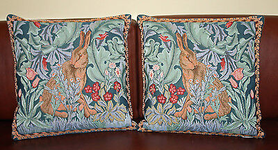 William Morris The Hare Pair of Tapestry Cushions Left & Right Facing - 34 cm