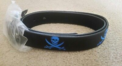 NWT Pirate Skull Cross Swords Genuine Black Leather Belt Blue Embossed Size L