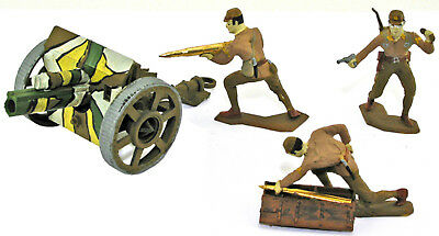 3 HAND MADE WWII Japanese Artillery w/ Field Gun - converted painted 54mm