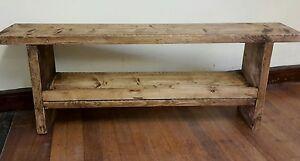 handmade rustic wooden reclaimed bench / shoe storage